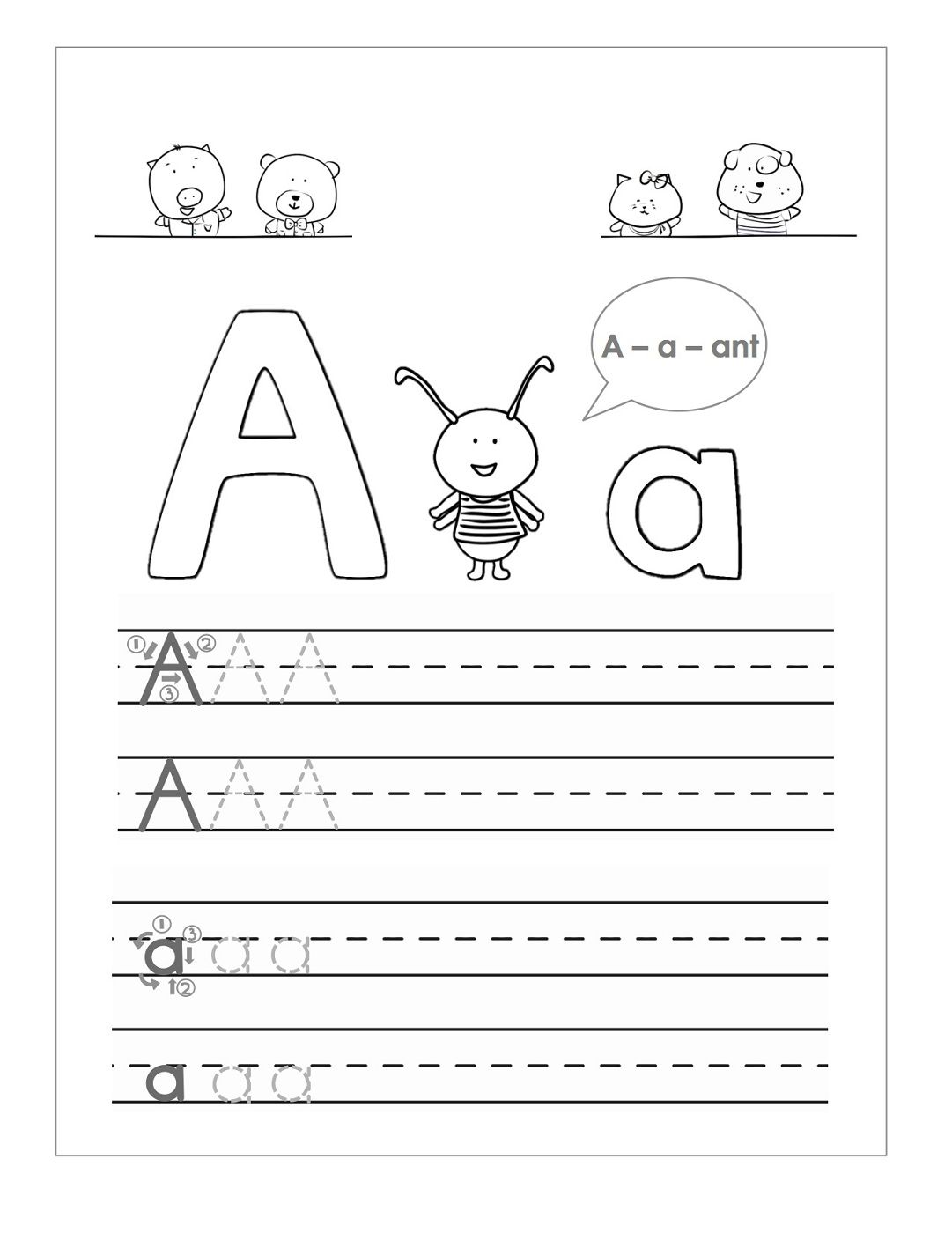 Worksheet Tracing Letter A tracing the letter a free printable activity shelter alphabet pinterest activities and ojays