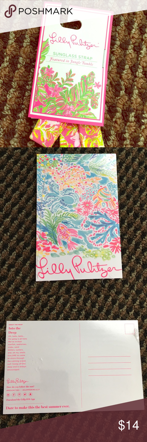 """Lilly Pulitzer sunglass strap and postcards Brand new with tags sunglass strap. """"Jungle Tumble"""" pattern. Comes with pink Lilly pouch and 5 Lilly postcards! Lilly Pulitzer Accessories Sunglasses"""