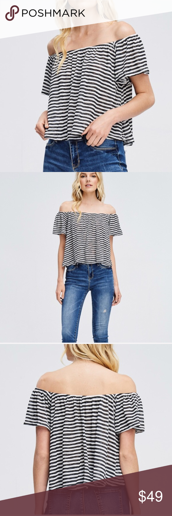 Black and white stripe offtheshoulder crop top boutique