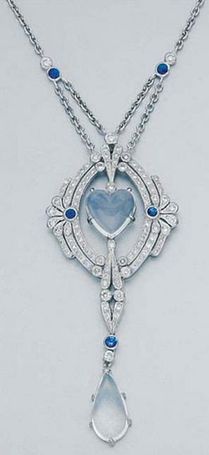 White Gold, Moonstone, Diamond and Sapphire Lavaliere  18 kt., ap. 8.8 dwt. Length 16 inches.