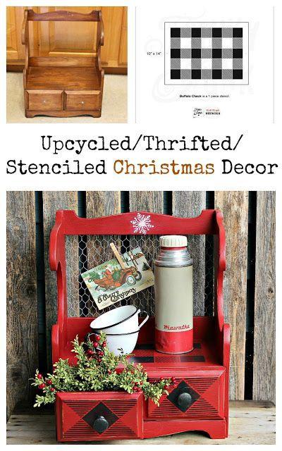 A Thrift Shop Shelf Gets A Buffalo Check Christmas Makeover #thriftstorefinds