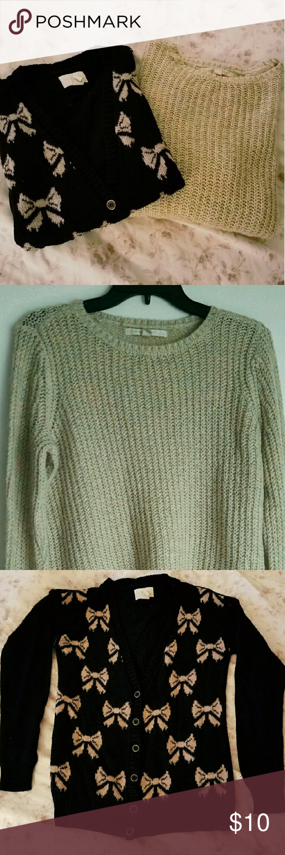 Cozy Winter sweater bundle! Lovely sweater bundle  [Items] 1. Small forever 21 bow cardigan. good condition. 2. Size small pastels comfy sweater. in good conditon  Price is a discounted price for both items.  If you would like to purchase items separatley u can do so by scrolling down my shop page. Items are listed separately at their original selling price. Sweaters
