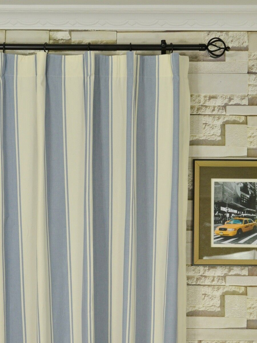 Moonbay Stripe Versatile Pleat Cotton Extra Long Curtains 108