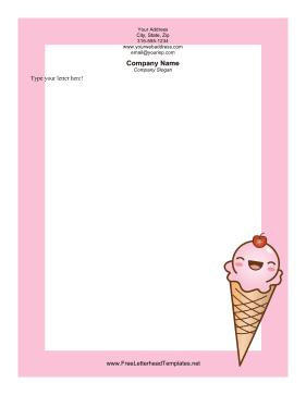 Ice Cream Cone Letterhead Valentines Pink Valentines Letterhead