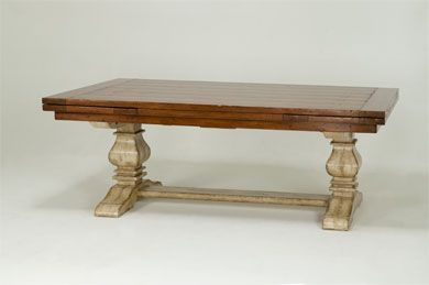 BAUSMAN U0026 CO. / 8764 TRESTLE TABLE / INLAID PLANK TOP WITH BUTTERFLY PEGS /