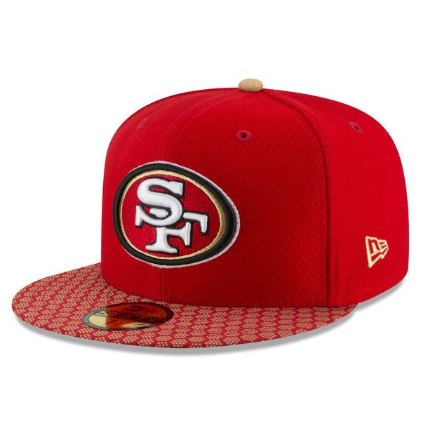 82173c245 San Francisco 49ers New Era 2017 Sideline Official 59FIFTY Fitted Hat -  Scarlet