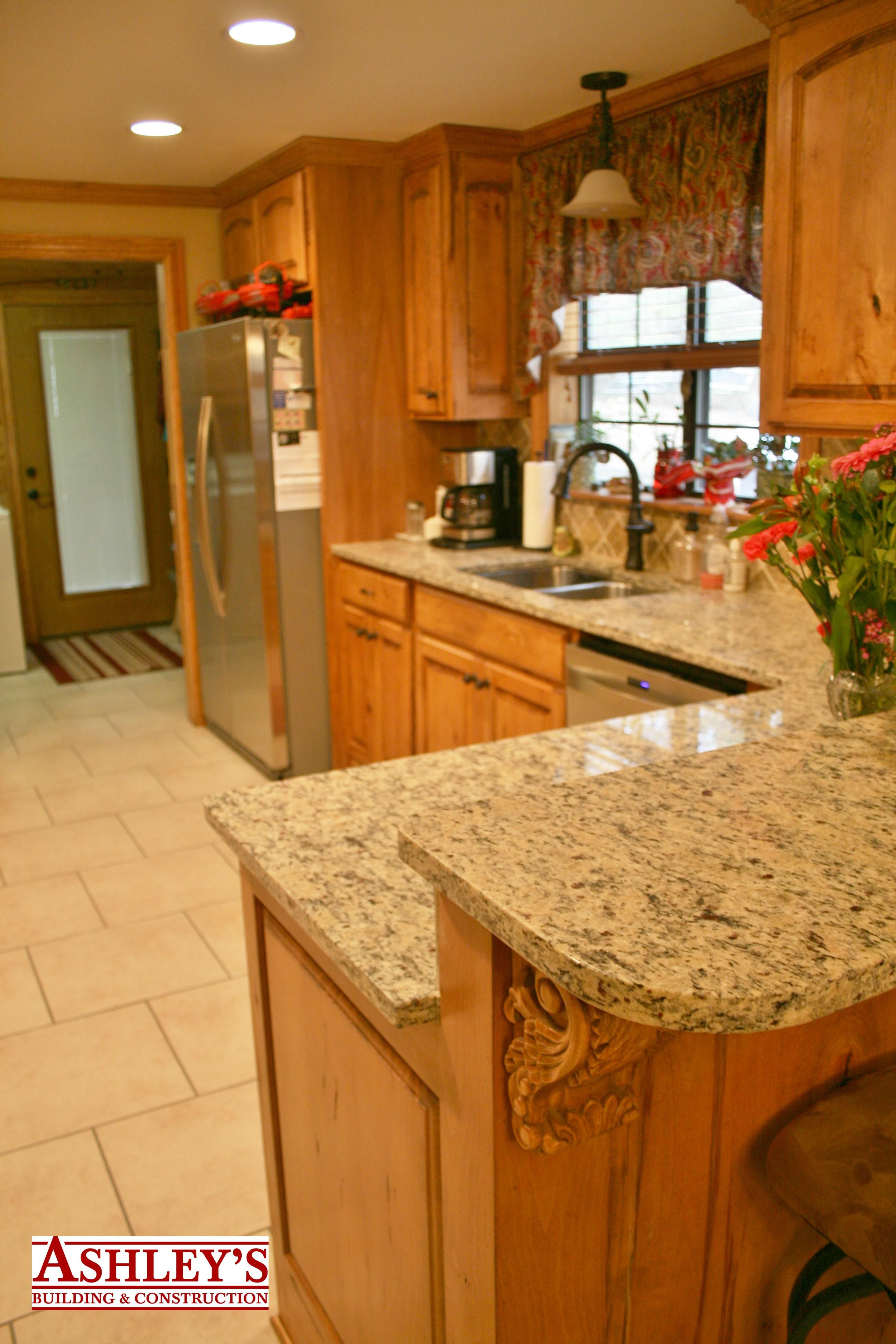 Kitchen Remodel Rustic Beech Custom Cabinets, Granite Countertop All New  Appliances.Country Kitchen.