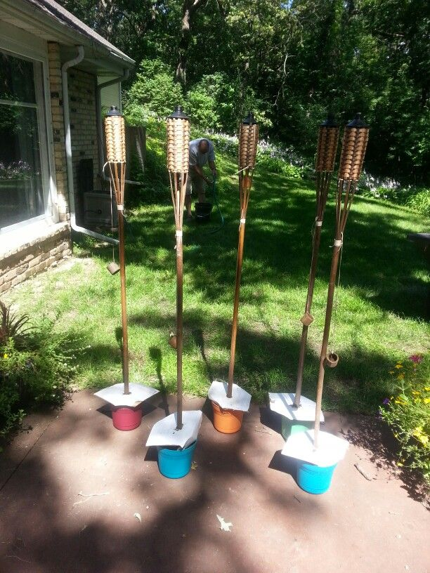 Tiki Torch Containers Add Concrete To Small Plastic