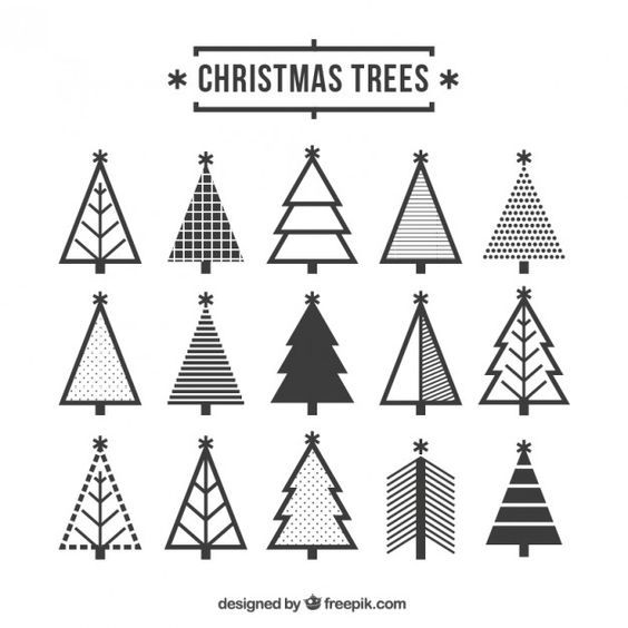 Cute Christmas Tree Icons Free Vector Christmas Tree Graphic Christmas Tree Drawing Christmas Graphic Design