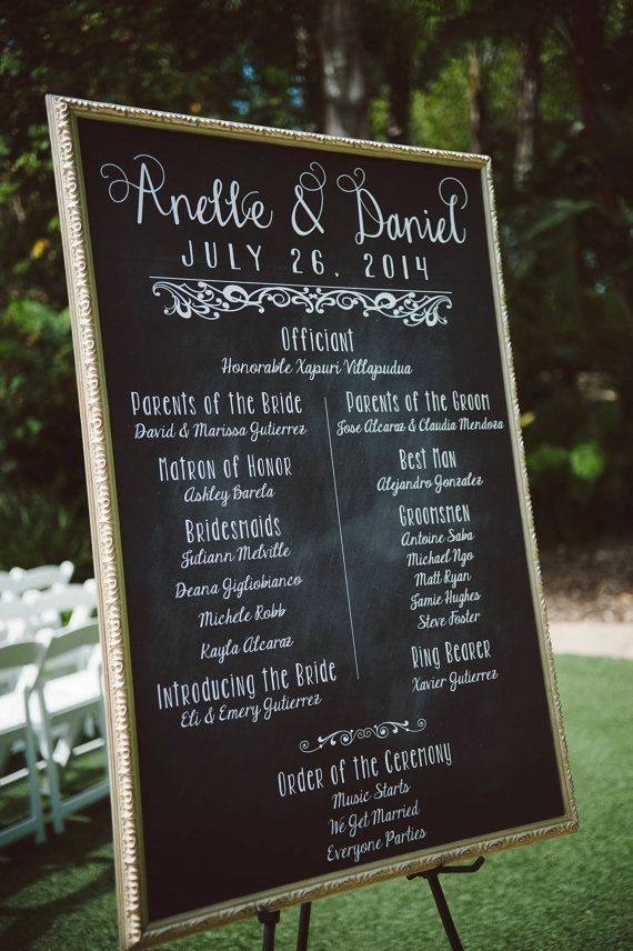 Chalkboard Wedding Poster Our Love Story Program Digital Or Printed