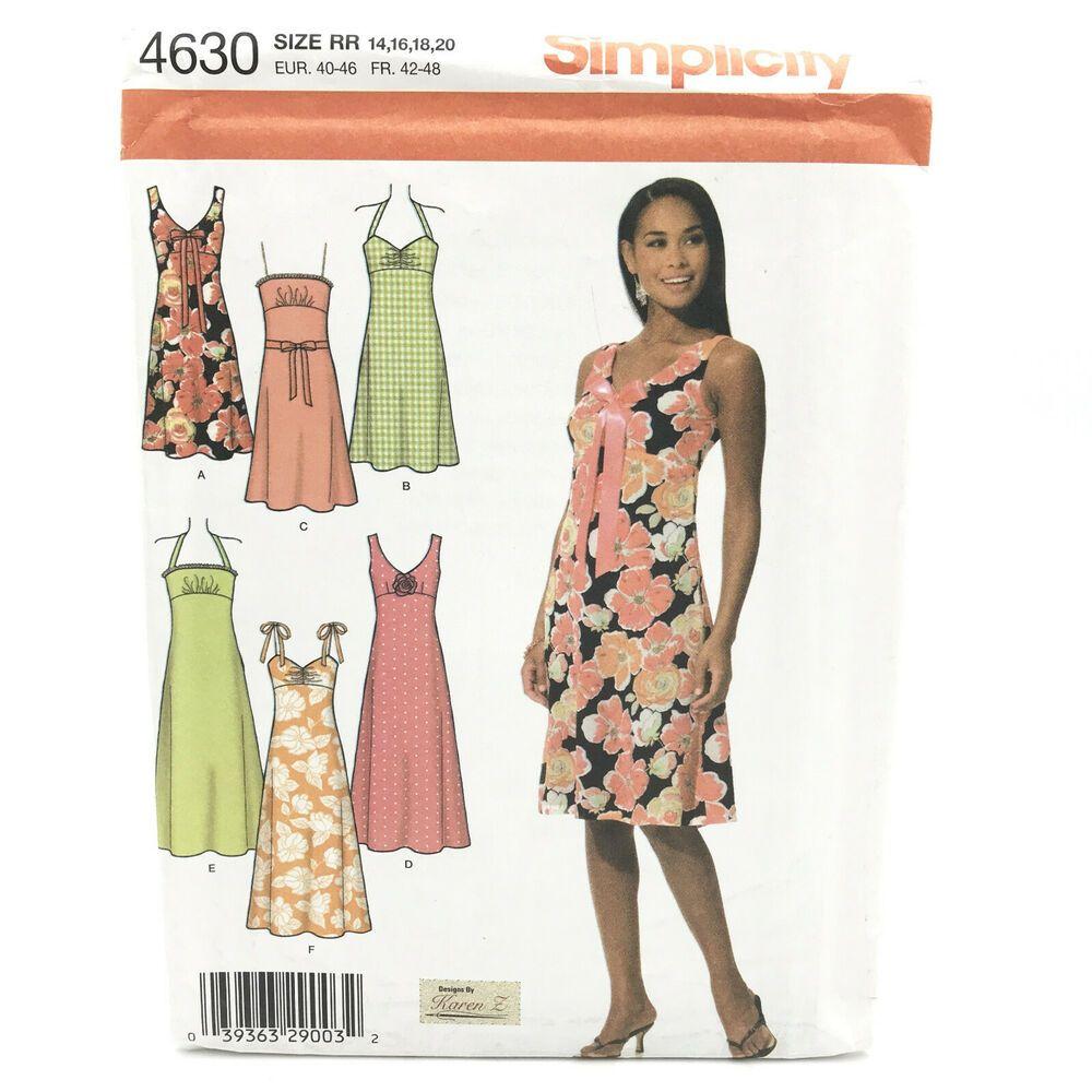 Simplicity 4630 Plus Size Empire Summer Dress Misses Sz 14 20 Uncut Pattern Ebay In 2021 Sundress Pattern Dress Sewing Patterns Simple Dress Pattern [ 1000 x 1000 Pixel ]