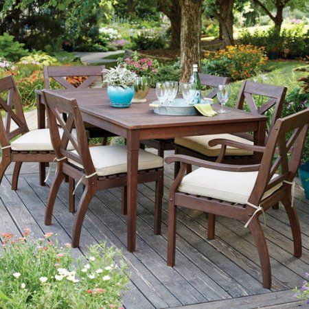 Better Homes and Gardens Cawood Place 7 Piece Dining Set With Natural  Olefin Seat Pads  Expresso Finish. Homes and Gardens Cawood Place 7 Piece Dining Set With Natural