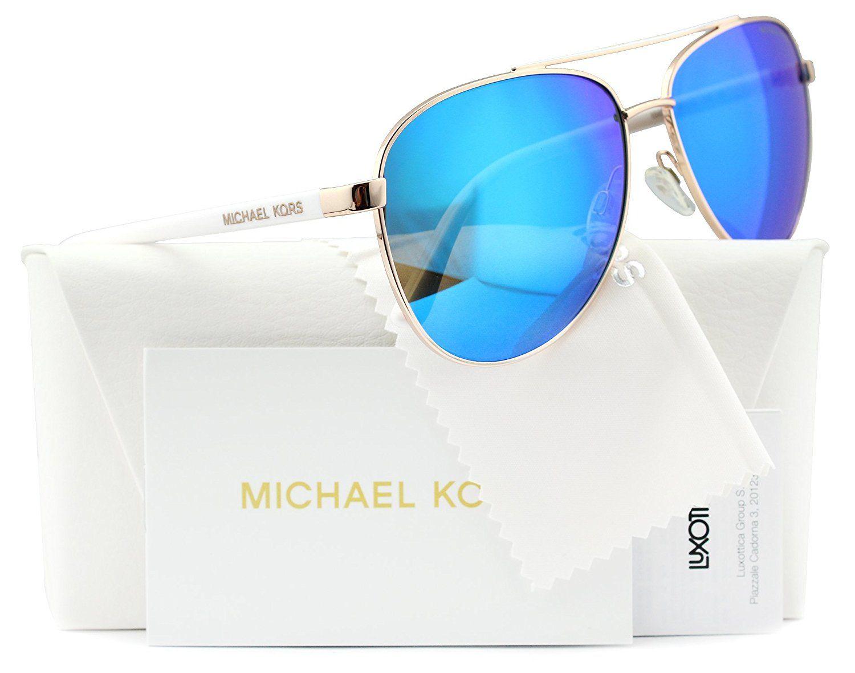 6b5dbd5b96 Michael Kors MK5004 Chelsea Aviator Sunglasses Rose Gold w Blue Mirror  (1003 25) MK 5004 100325 59mm Authentic