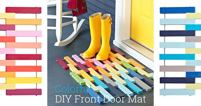 Custom made doormat out of colorful wood pieces, great front porch decor for Spring!