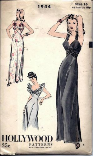 Vintage 30s 40s Nightgown Negligee Lingerie Sewing Pattern 1944 B34 16