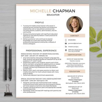 TEACHER RESUME Template with Photo For MS Word + Educator Resume - profile template word