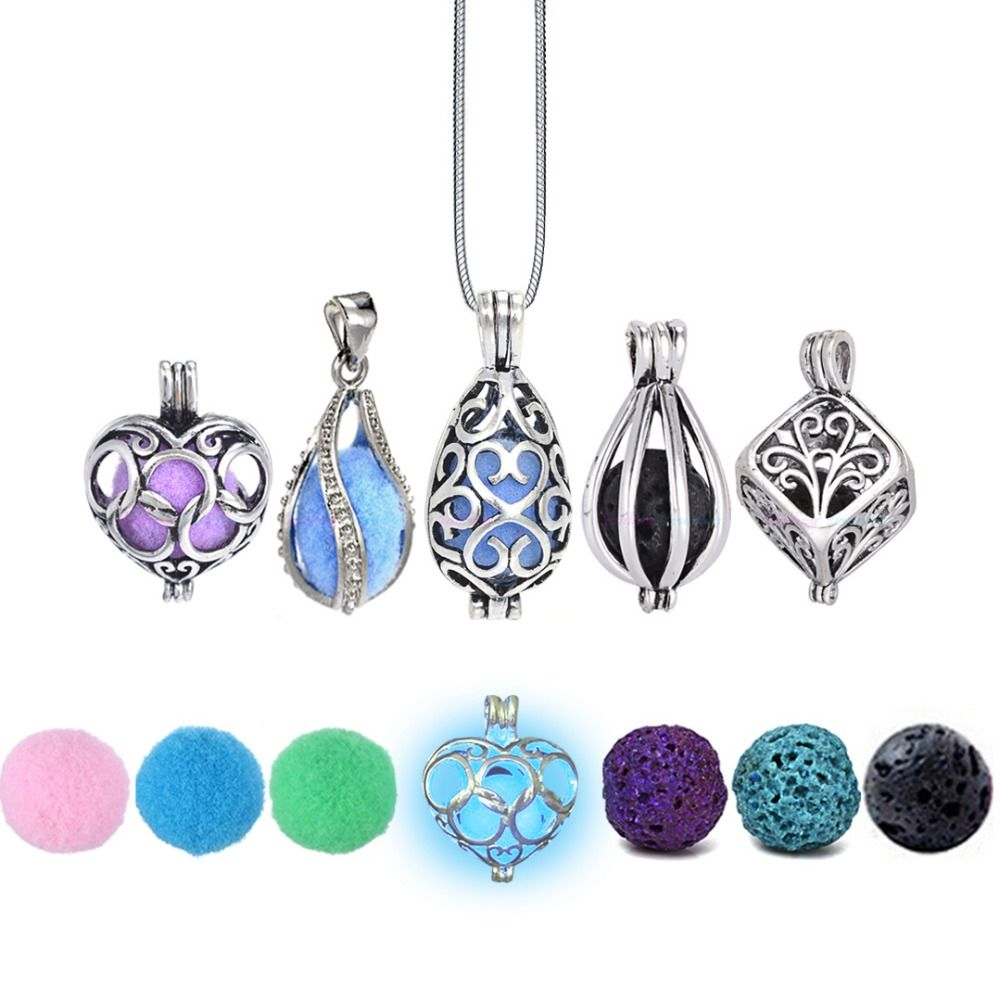 Aromatherapy pendant necklace with essential oil locket aloadofball Image collections