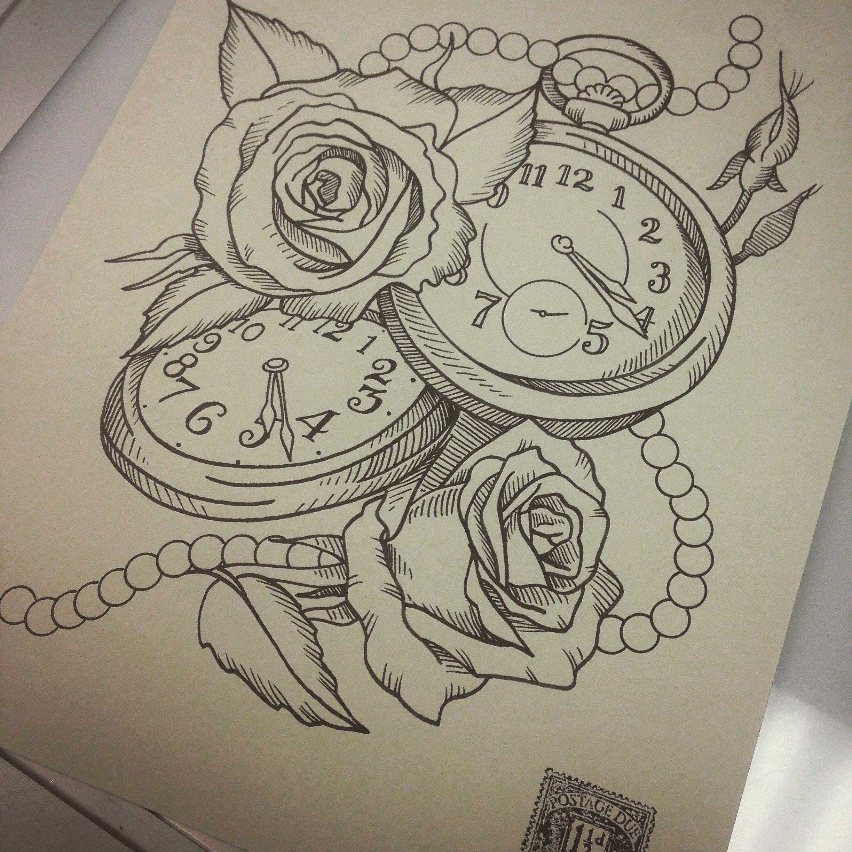 Drawing Sketchbook Sketch Art Artwork Penandink Tattoodesign Tattoodesigns Art Clock Rose Clocktattood Clock Tattoo Design Atlas Tattoo Sketch Book