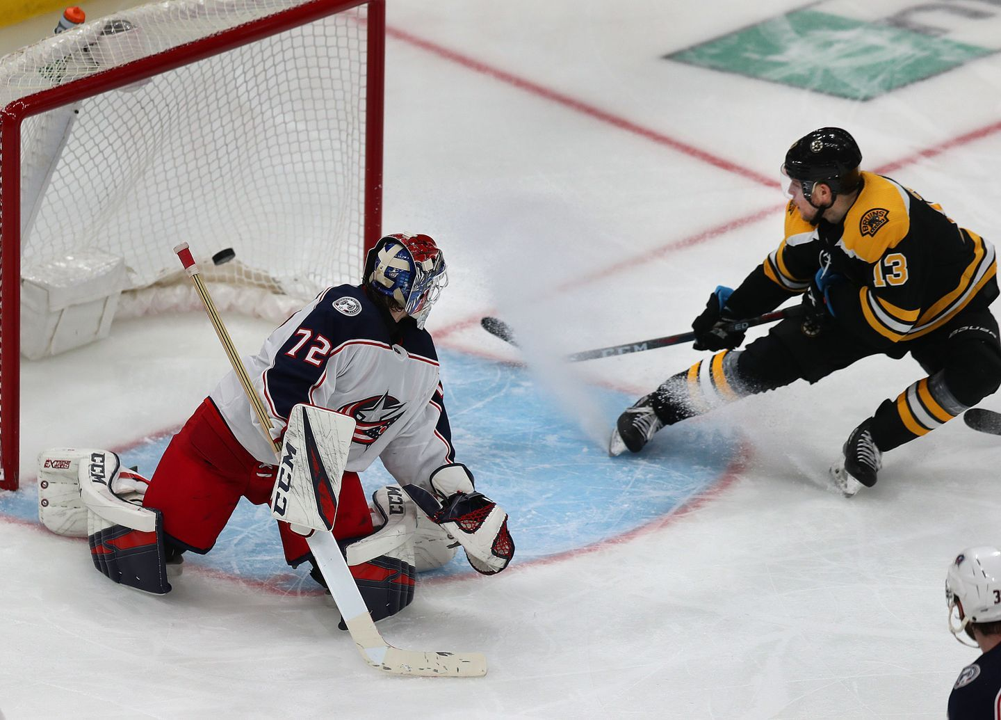 Charlie Coyle Scored 5 15 Into Overtime Boosting The Bruins By A 3 2 Score To Open The Second Round At Td Garden Thursday N Goalie Stanley Cup Playoffs Bruins