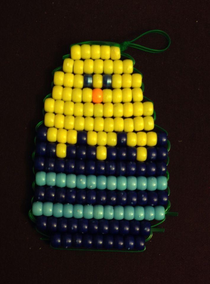 Handmade pony bead beaded beadie chick in egg keychain or wall art ...