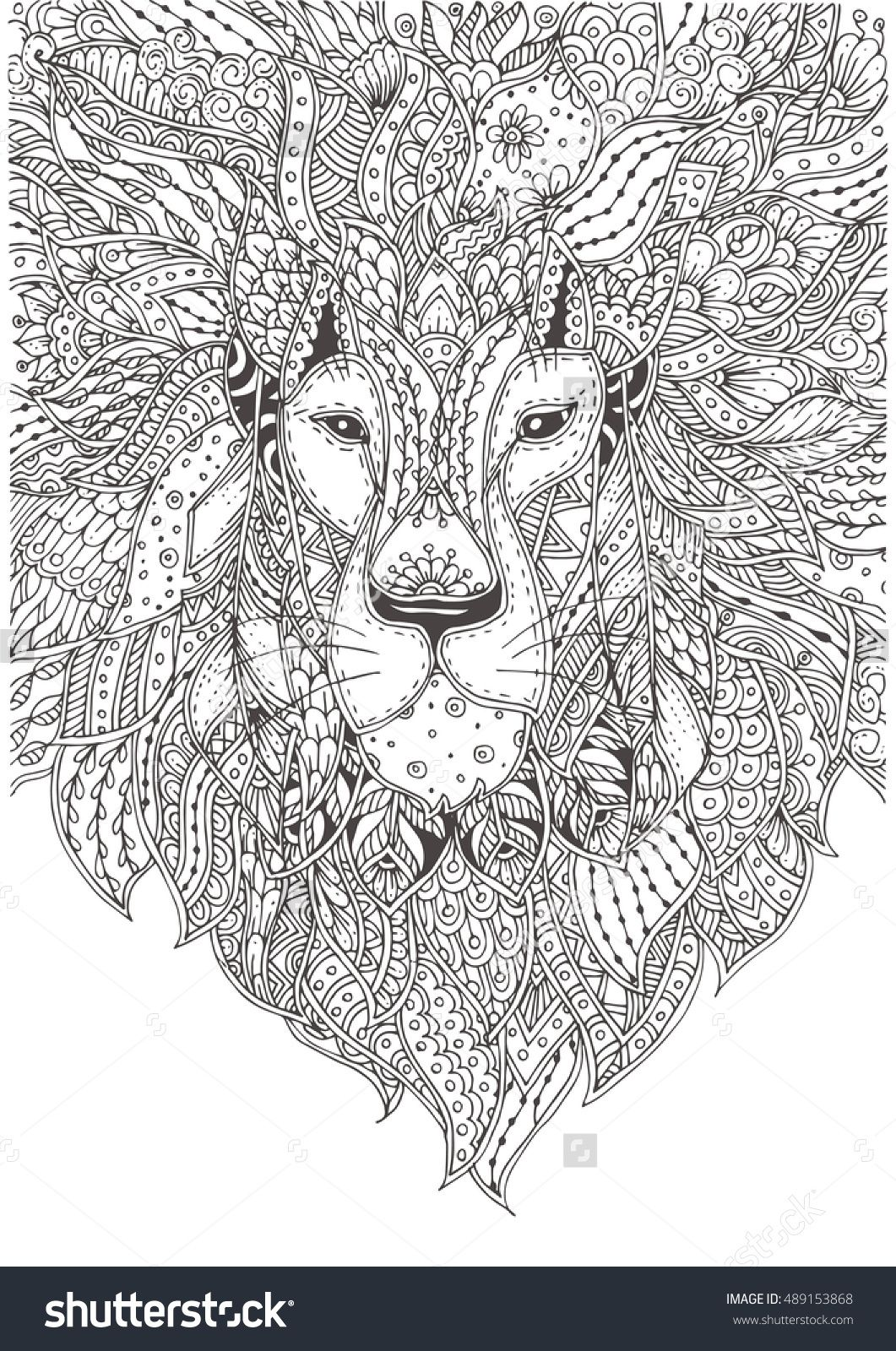 Hand Drawn Lion With Ethnic Floral Pattern Coloring Page