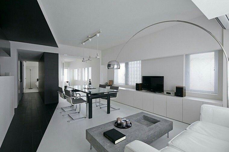 Sala de estar comedor minimalista estilo minimal for Sala de estar blanco y negro