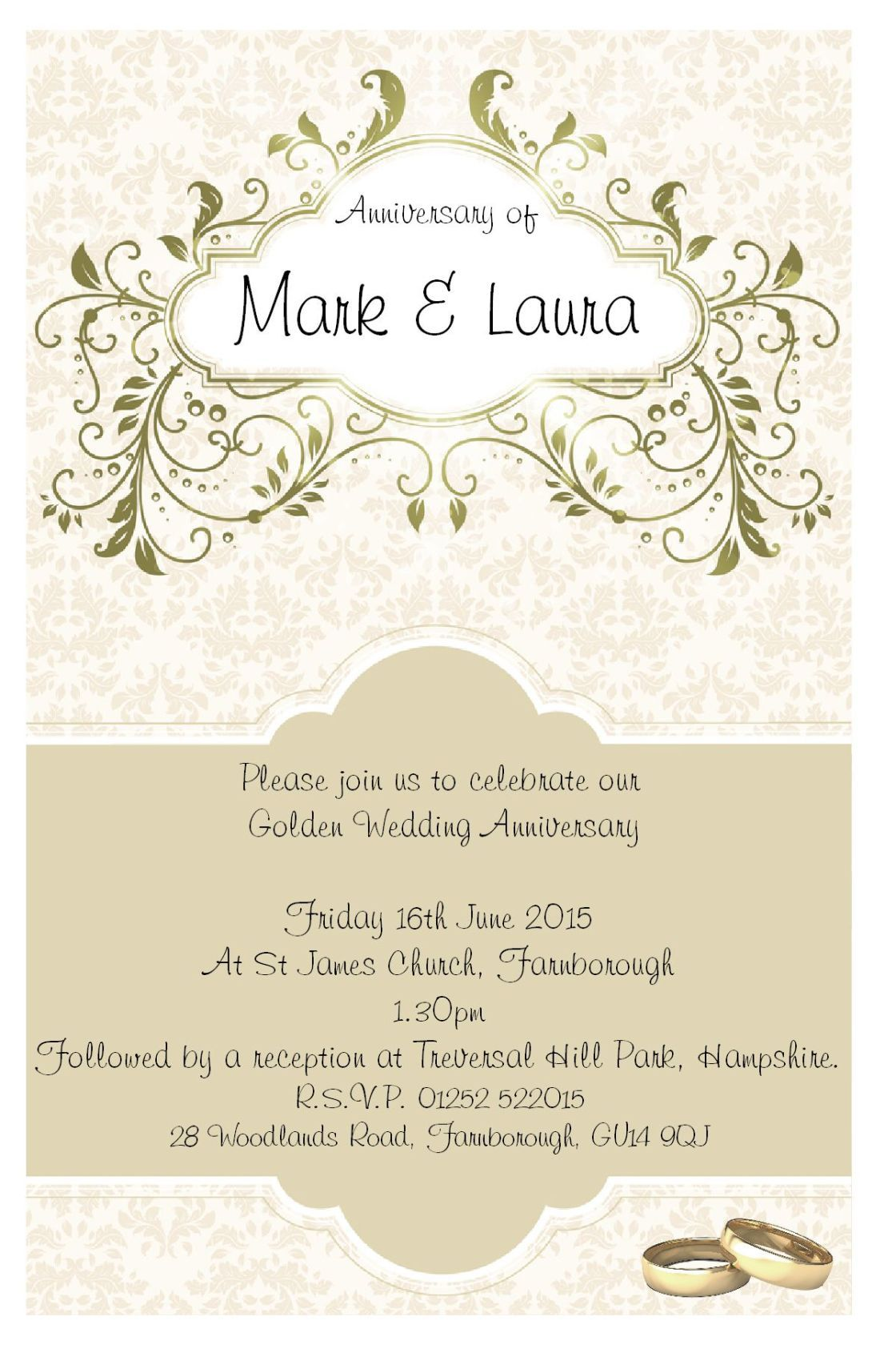 Vintage 50th Anniversary Invitations With Gold Nuance And Couple ...