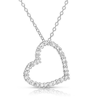 Simulated Diamond & Sterling Silver Open-Heart Pendant Necklace #zulily #zulilyfinds