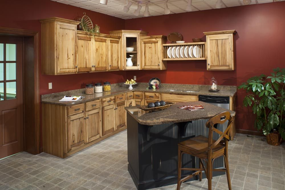 Hickory Cabinets With Black Harware Red Walls Very