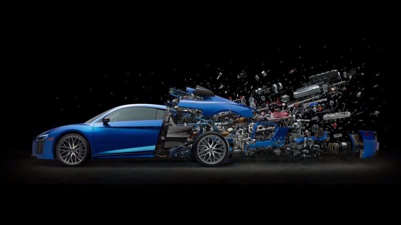 Artist Disassembled The Rear End Of An Audi R8 V10 For This Cool Image