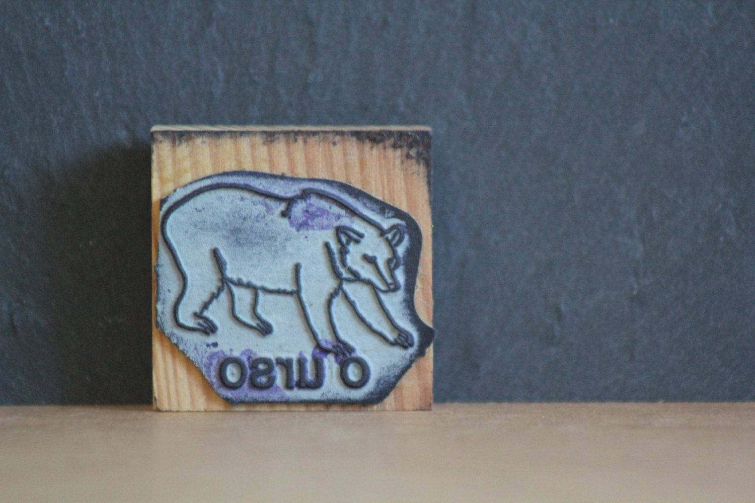 Rubber stamp craft supplies - Vintage Bear Rubber Stamp Old School Stamp Wood Stamp Craft Supplies Tools Portuguese Urso Stamp By