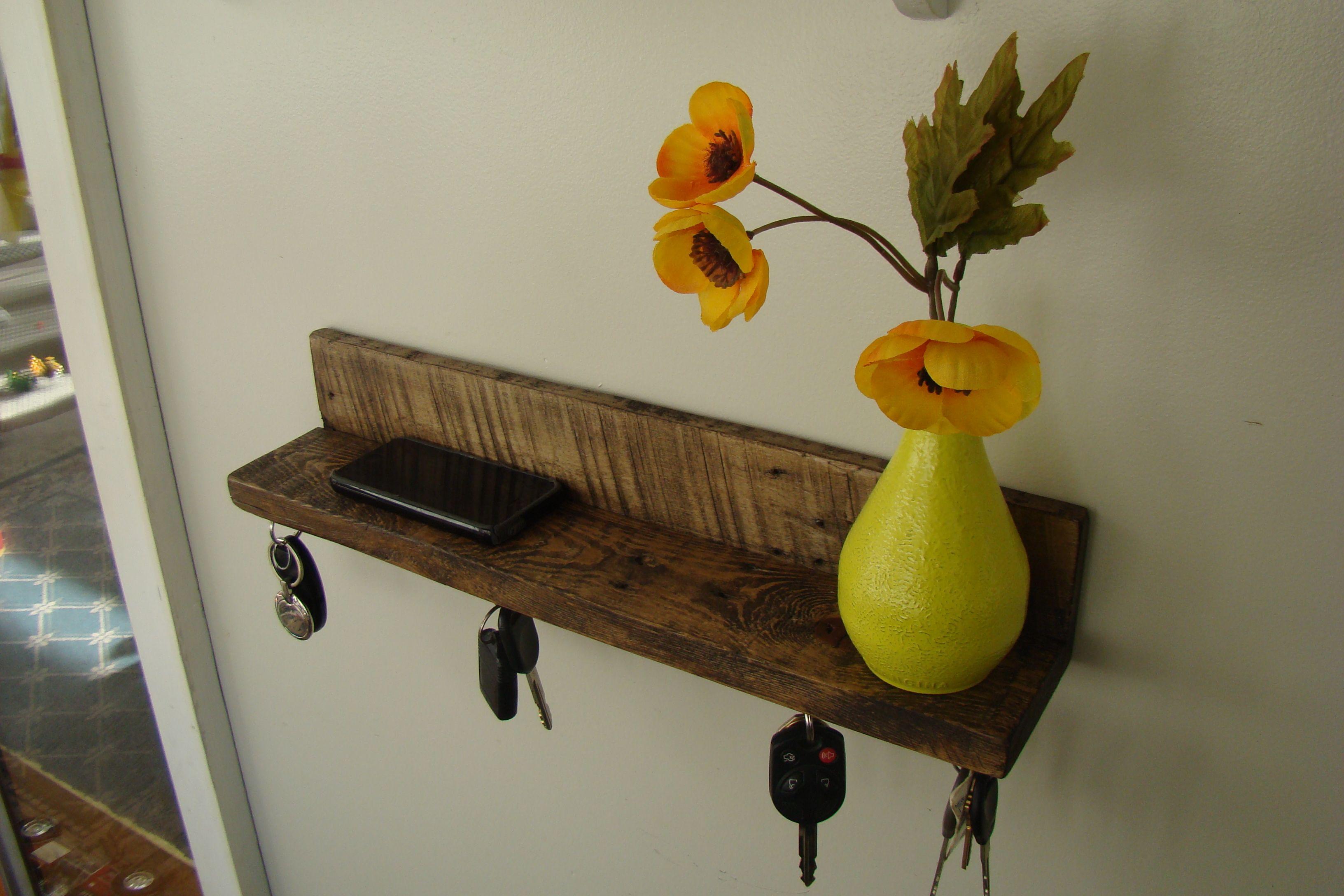 Reclaimed Wood Rustic Shelf and Magnetic Key