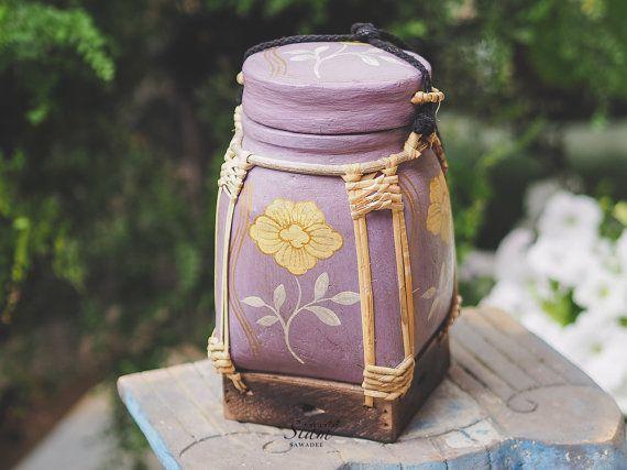 Handmade Rice Basket Box Hand painted Floral Rice Storage