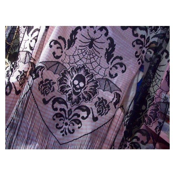 Gothic Black Lace Curtain Panel Skulls Spiders Spider Web Bat