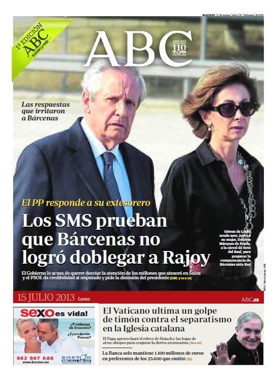 La portada de ABC del lunes 15 de julio