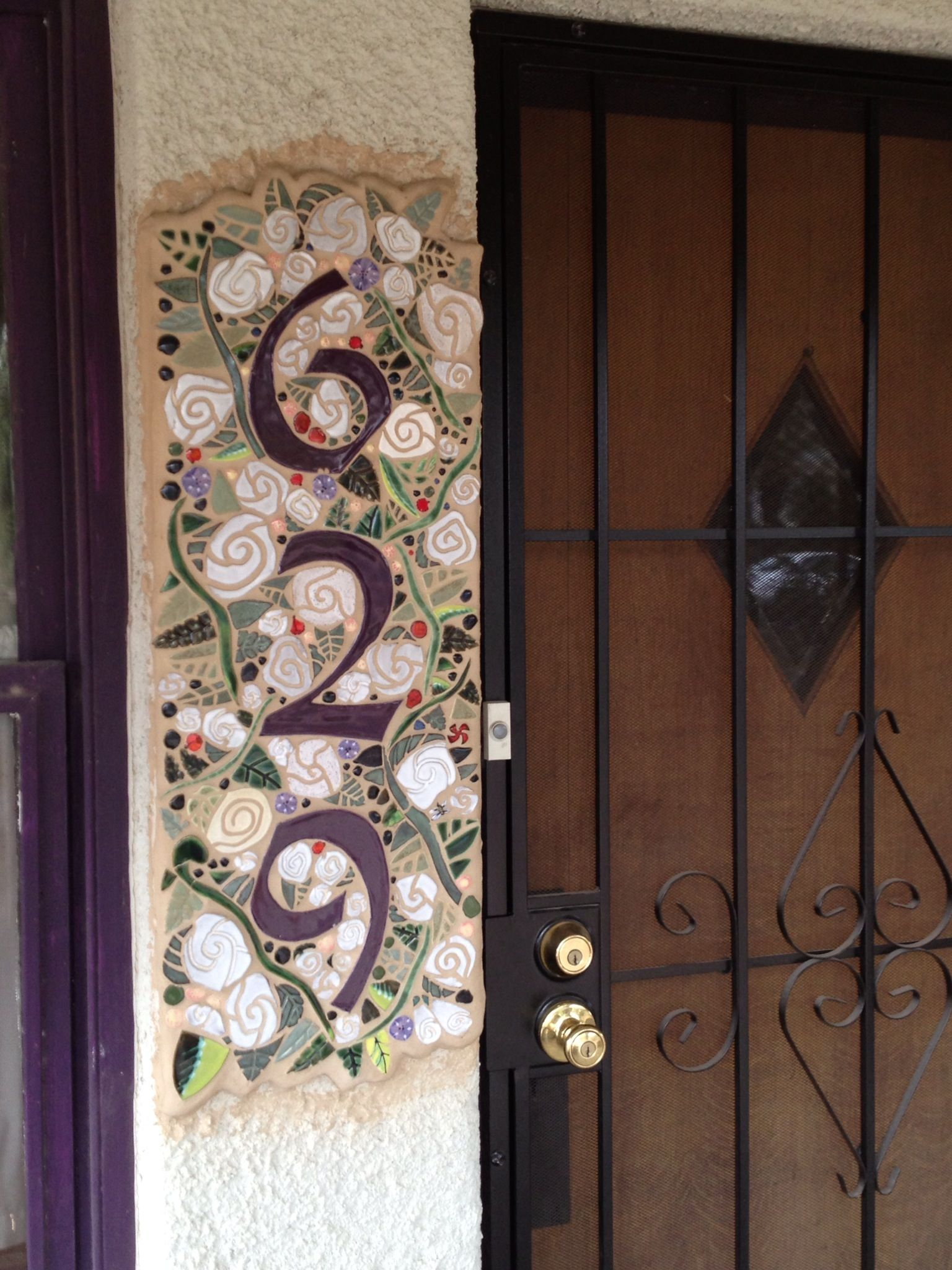 Handmade tile house numbers with white rose and vine tiles a