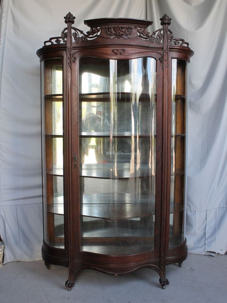 Details About Antique Oak Curio China Cabinet Art