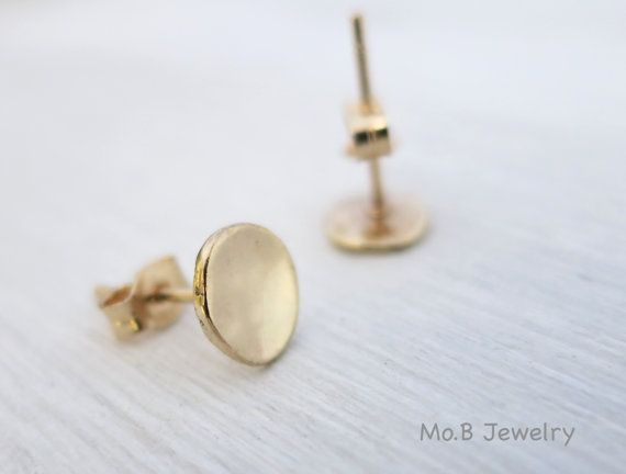 14k Solid Gold Stud Earrings Valentine S Day Gift Hammered Small Daily Use Handmade