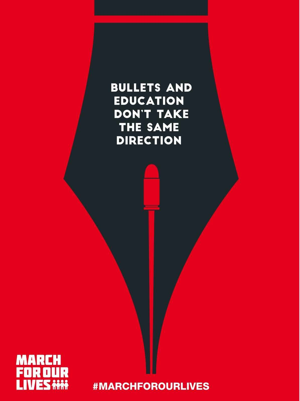 march for our lives bullets and education don t take the same direction design