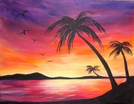 59 Ideas Painting Ideas On Canvas Sunset Palm Trees Beach Art Painting Sunset Canvas Painting Sunset Painting