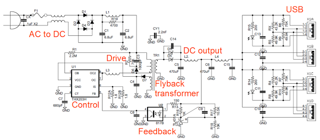 annotated schematic of the kms tc 09 usb charger schematic rh pinterest co uk circuit diagram of usb mobile charger circuit diagram usb car charger