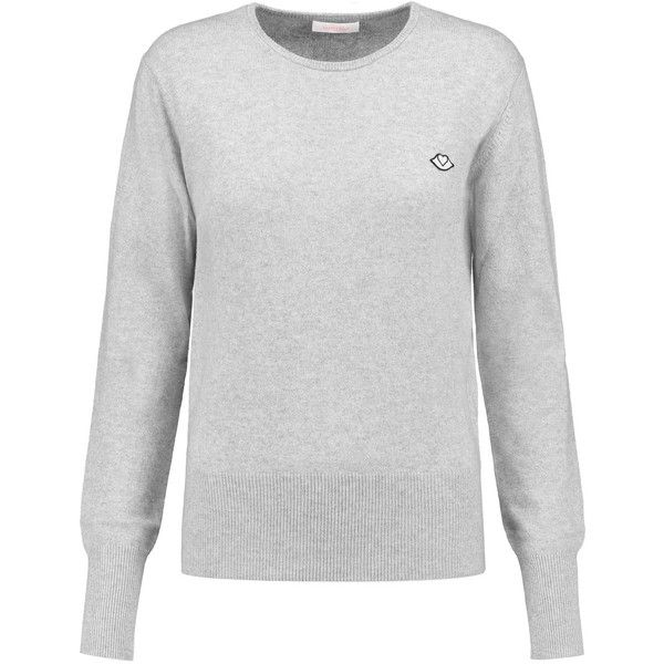 See by Chloé Knitted sweater (370 ILS) ❤ liked on Polyvore featuring tops, sweaters, light gray, loose fit tops, cut loose tops, loose tops, light gray sweater and see by chloe sweater