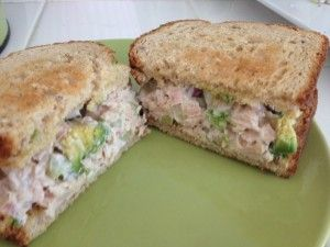 From Maria Kang - I used, 3 cans of tuna, 1/2 a red onion diced, 2 stalks of celery diced, 1 avocado diced, 3 tablespoons of mayo with olive oil and salt/pepper. Needless to say, it was AMAZING.   To make this healthier you can use Ezekial bread or make an 'open-faced' sandwich (by using just one slice). You can also put this in a whole wheat pita bread or whole wheat bagel/english muffin.