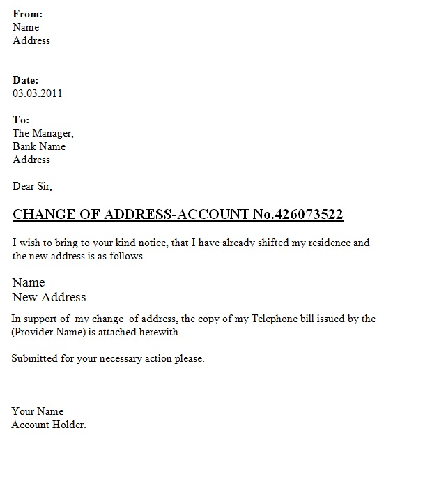Letter Template Address 8 Templates Example Templates Example Change Of Address Letter Templates Business Letter Template