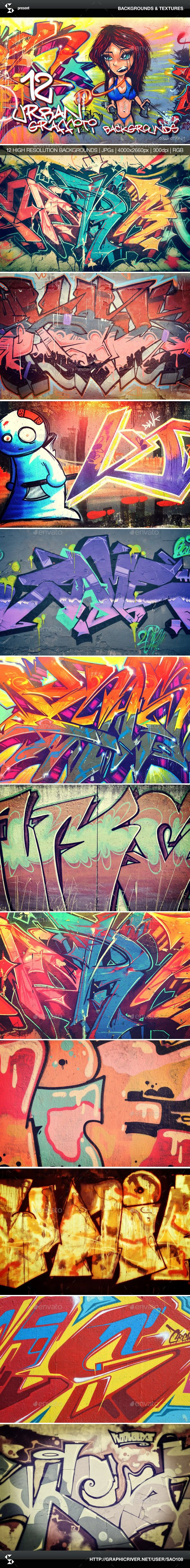 Urban graffiti backgrounds collection 1
