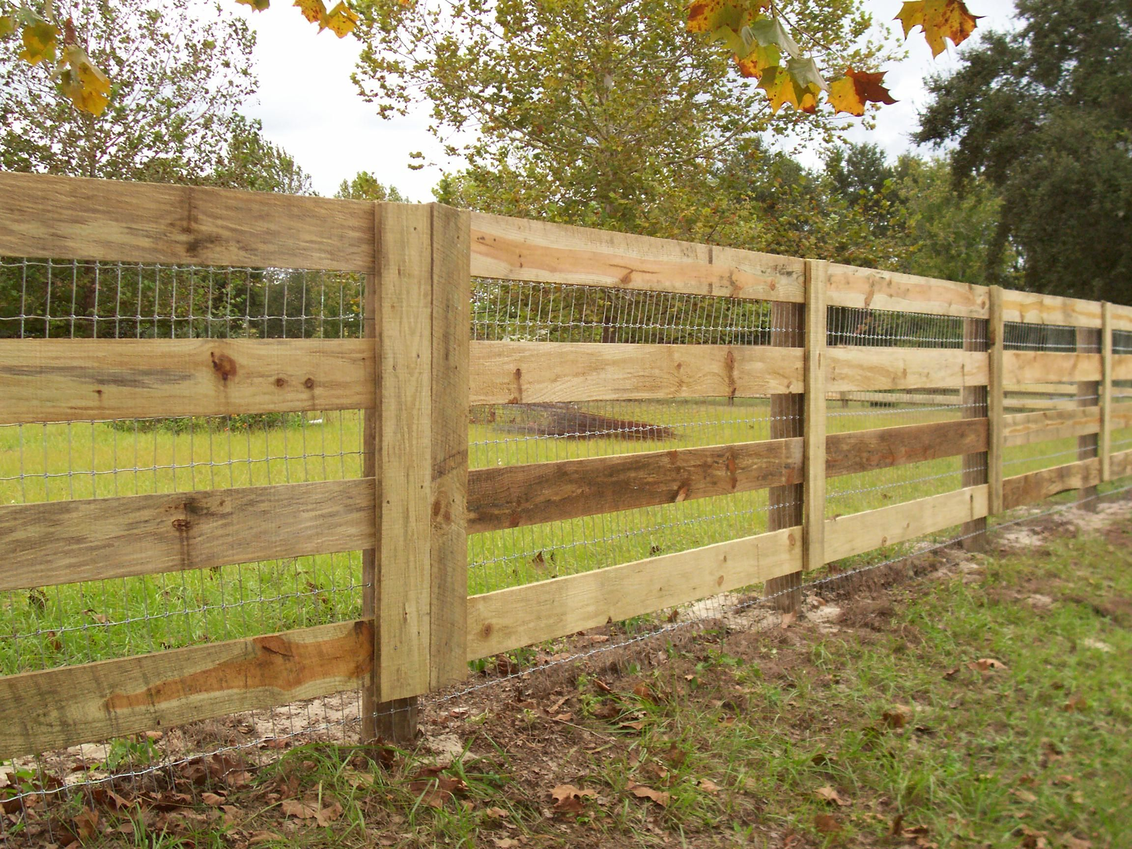 custom wood horse fence design with wire for added protection