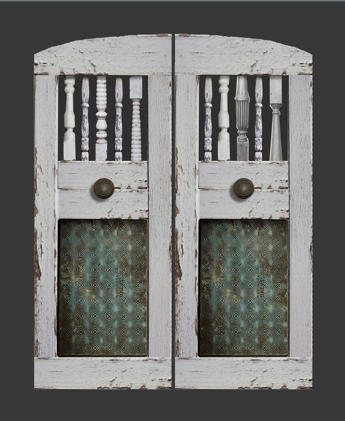 industrial saloon doors, distressed western swinging bar pub cafe