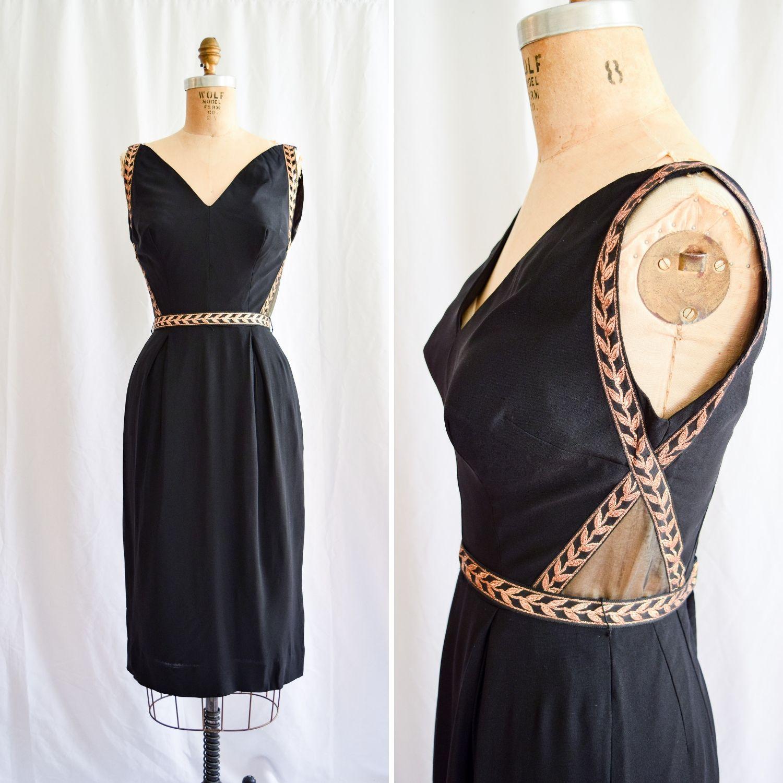 Va Va Voom 1950s 60s Vintage Wiggle Dress With Gold Leaf Detail Sz S M Black Cocktail Dress Cocktail Dress Classy Vintage Wiggle Dress [ 1500 x 1500 Pixel ]