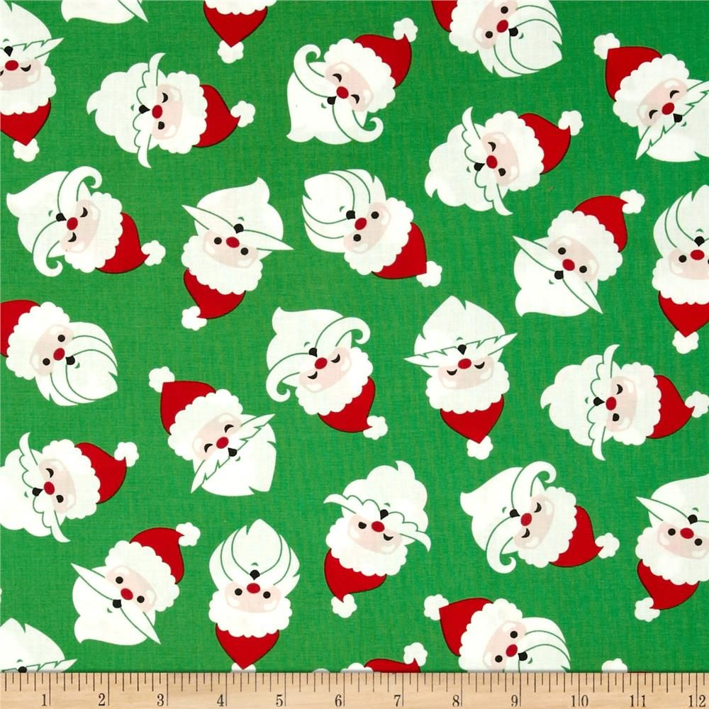 Merry Mustaches Santa Green from @fabricdotcom  Designed by Caleb Gray Studio for Robert Kaufman, this cotton print is perfect for quilting, apparel and home decor accents.  Colors include white, black, peach, red and green.