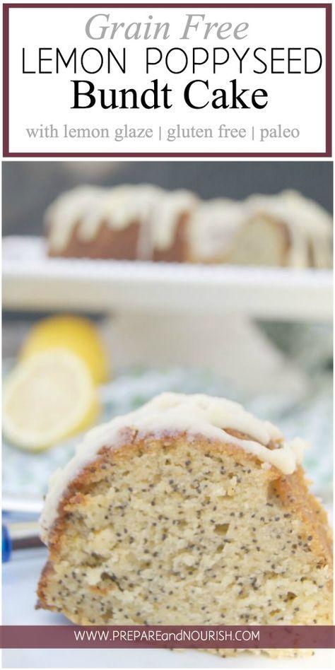 Paleo Lemon Poppyseed Bundt Cake with Lemon Glaze - This delicious grain free desert has the perfect blend of tartness and the delicate sweetness from honey. via @preparenourish